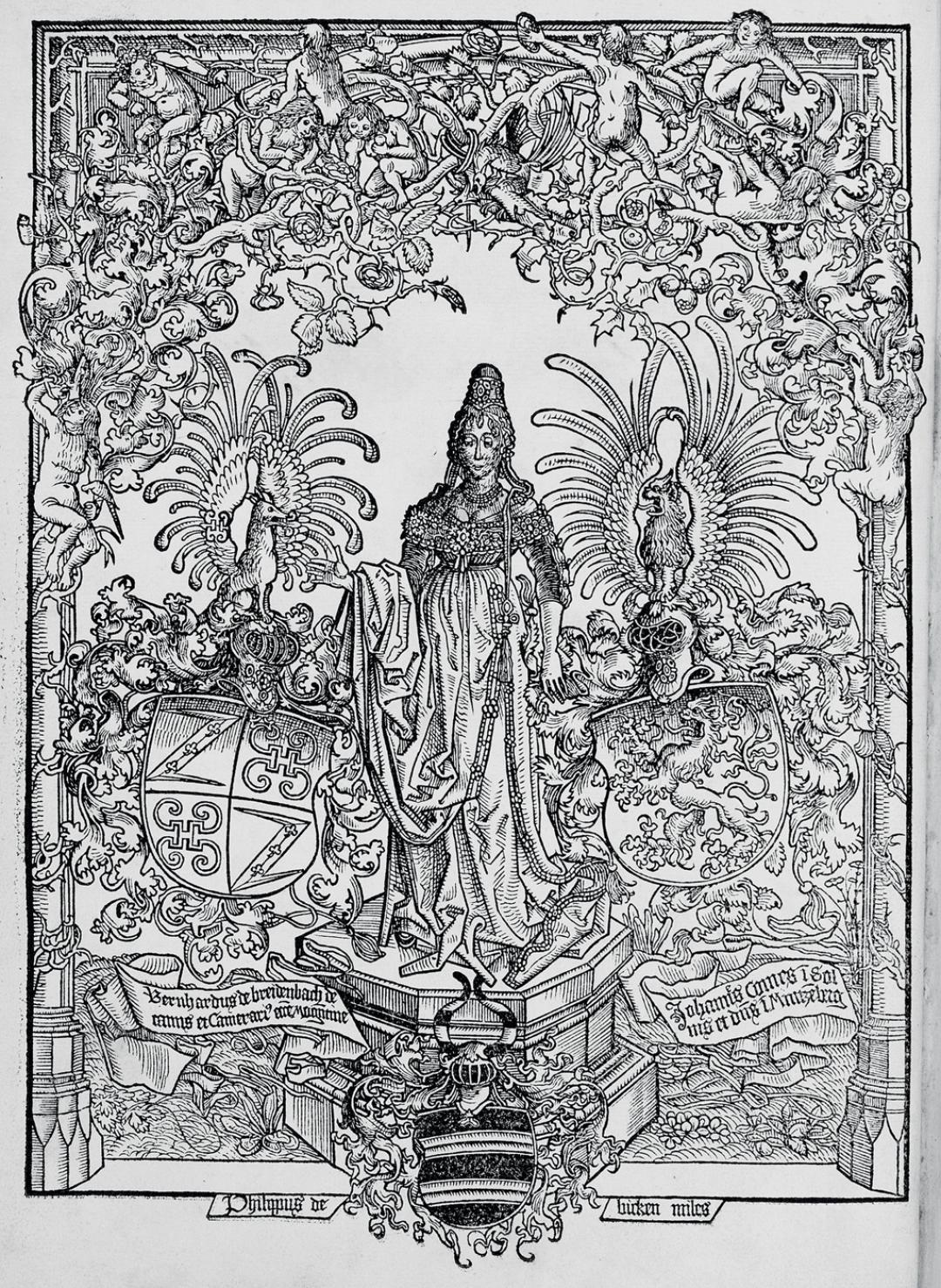 Erhard Reuwich – Frontispiece from Peregrinatio Latin, fol. 1v.