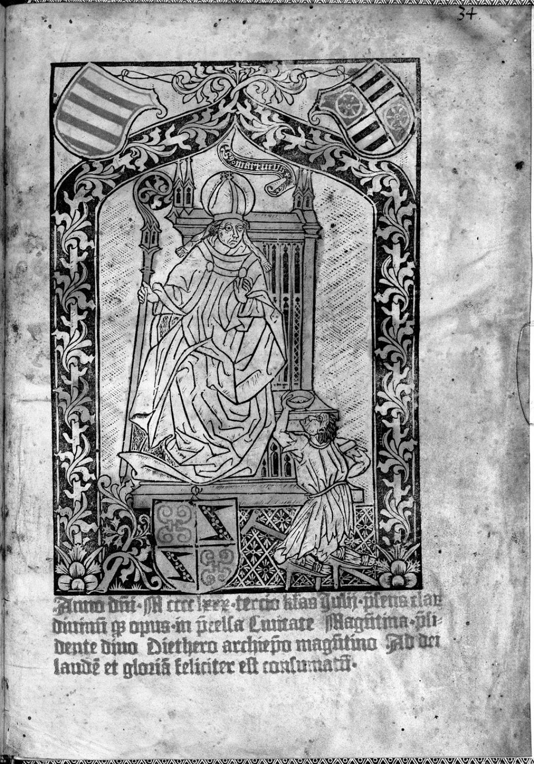 Saint Martin in Diether von Isenburg's Agenda Moguntinensis, 1480