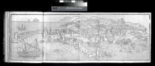 Erhard Reuwich – View of Rhodes in Peregrinatio Latin, fol. 33v–36