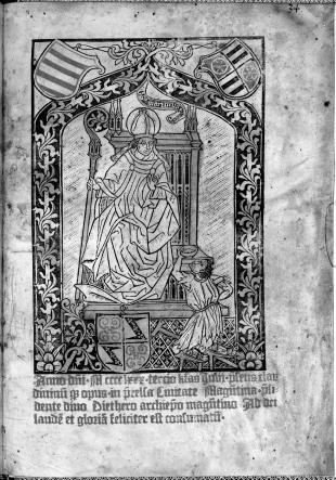 Saint Martin in Diether von Isenburg's Agenda Moguntinensis, 1480
