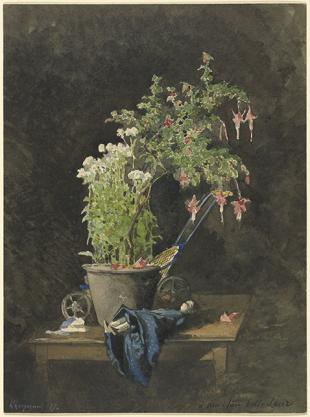 Harpignies, A Potted Fuchsia with Children's Toys, 1877