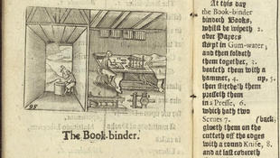 """The Book-binder,"" detail from Orbis Sensualium Pictus"