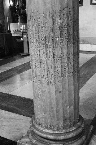 S. Nicola in Carcere, column inscriptions