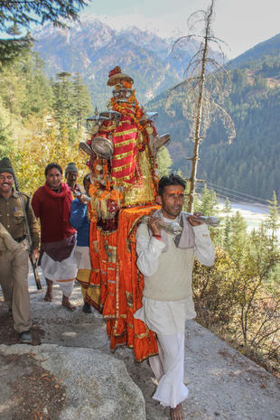 Pilgrims proceeding toward sacred centers