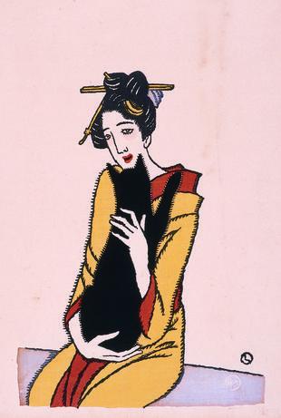 Kuroneko o daku onna (Woman holding a black cat)
