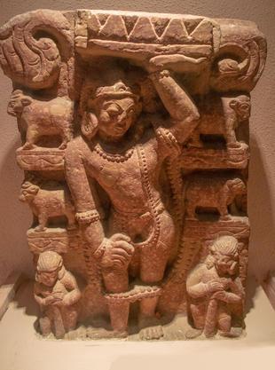 Krishna holding Govardhan hill
