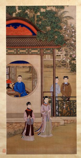 "Hanging scroll, ""Yinzhen Enjoying Pleasures"""