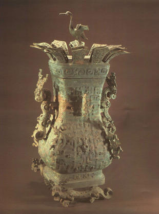 Bronze hu vessel with a crane